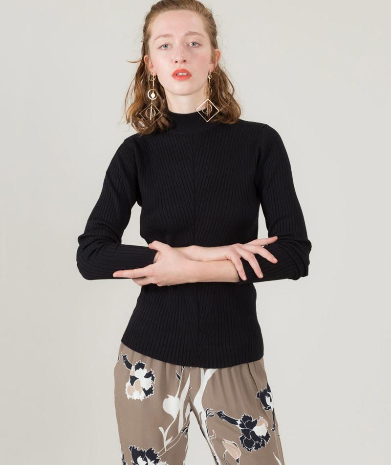 POP COPENHAGEN Ribbed Knit Pullover blac