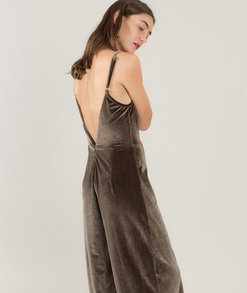 MINKPINK Velvet Jumpsuit olive grey