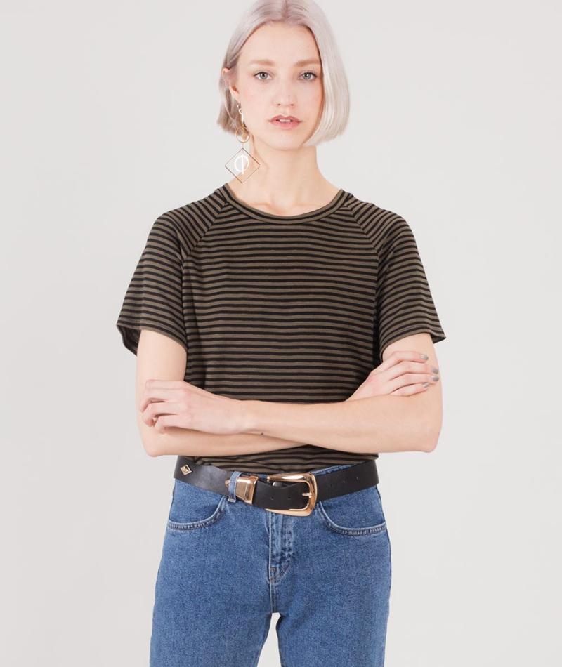 KAUF DICH GLUCKLICH Lila T-Shirt striped