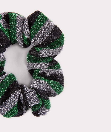 EBBA Small Lurex Scrunchie striped green