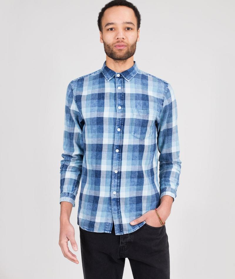 REVOLUTION Cotton Checked Hemd blue