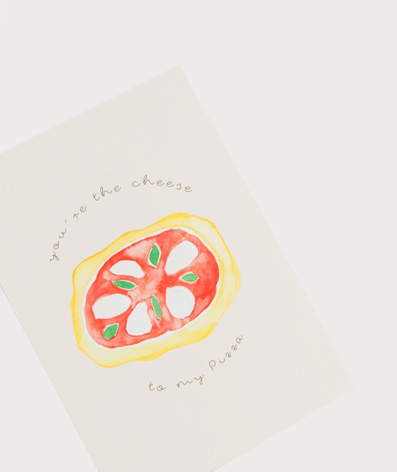 KAUF DICH GLÜCKLICH Postkarte Pizza