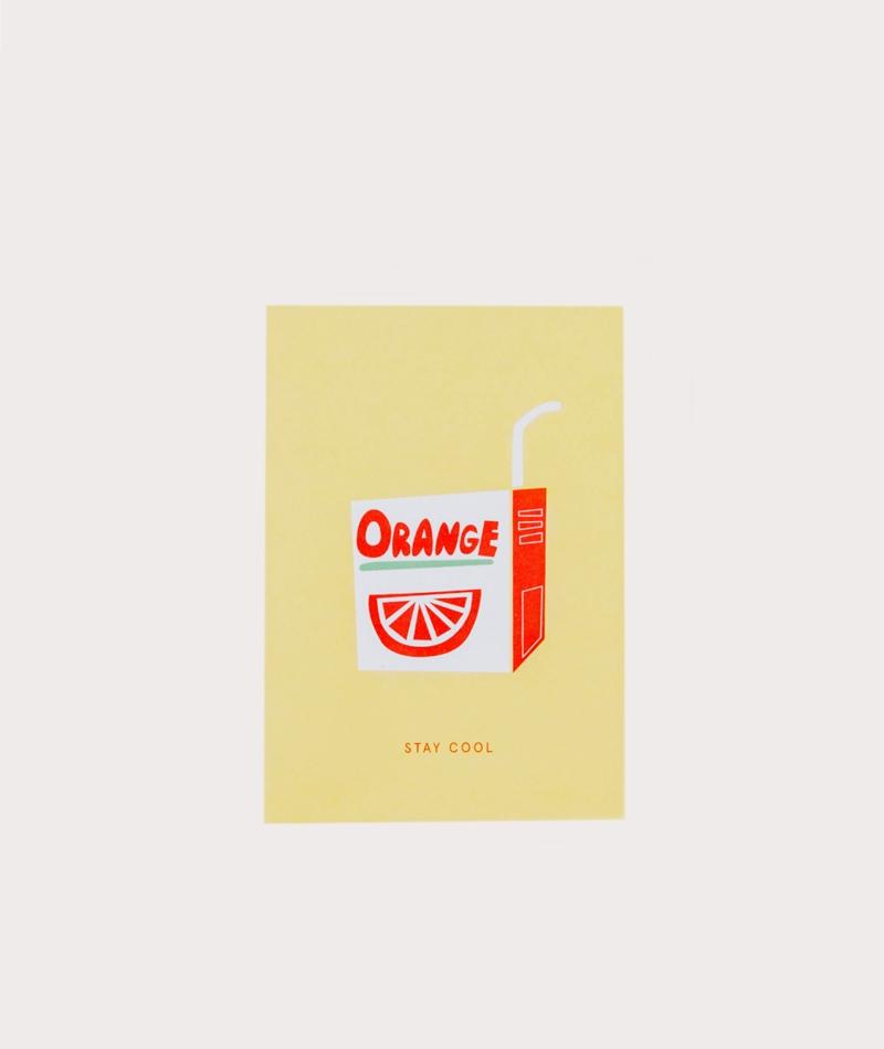 KAUF DICH GLÜCKLICH Postkarte Orange
