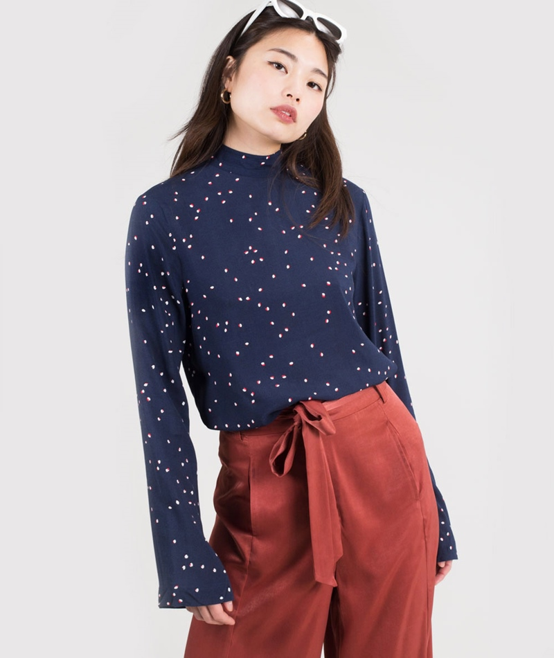 ANOTHER LABEL Gauget Bluse navy dots