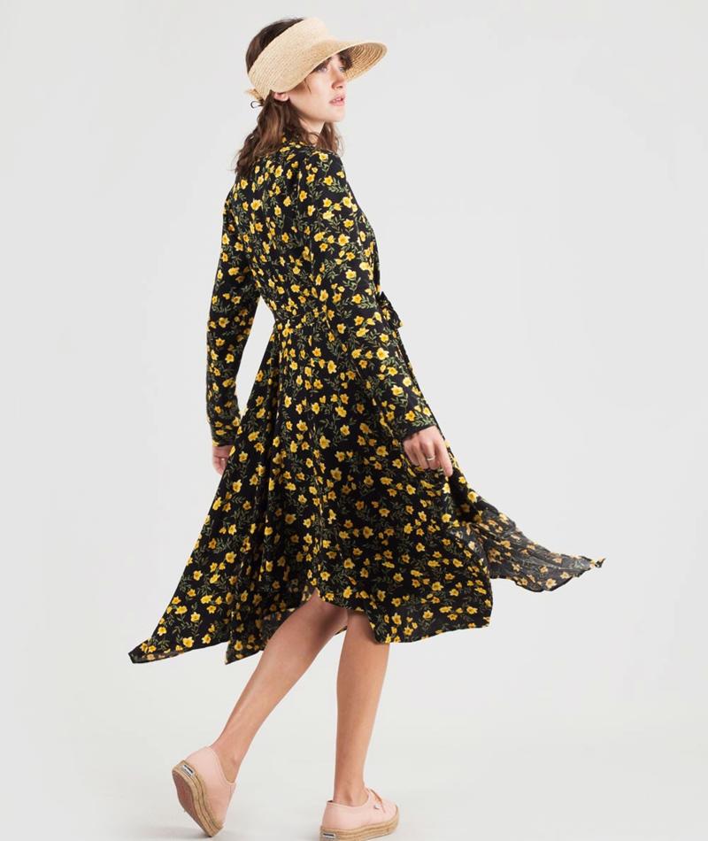 VILA Vifinell V-Neck L/S Kleid black