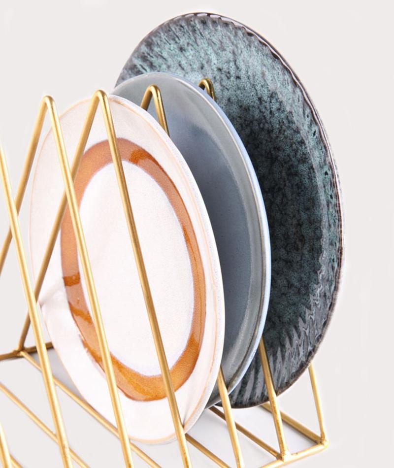 Top MADAM STOLTZ Plate Rack gold 47965 WY57