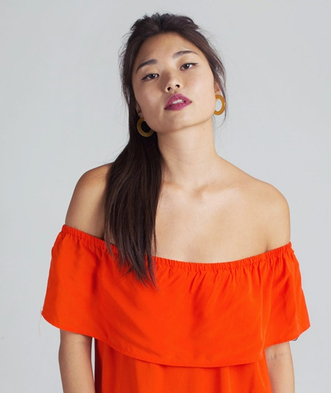 VILA Viliba Offshoulder Kleid orange