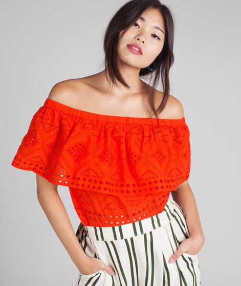 VILA Visimmi Offshoulder Broderie Top or