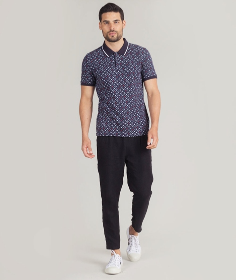 BEN SHERMAN Floral Print Polo dark navy