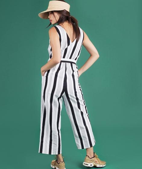 MINKPINK Stripe Linen Overall offwht/blk