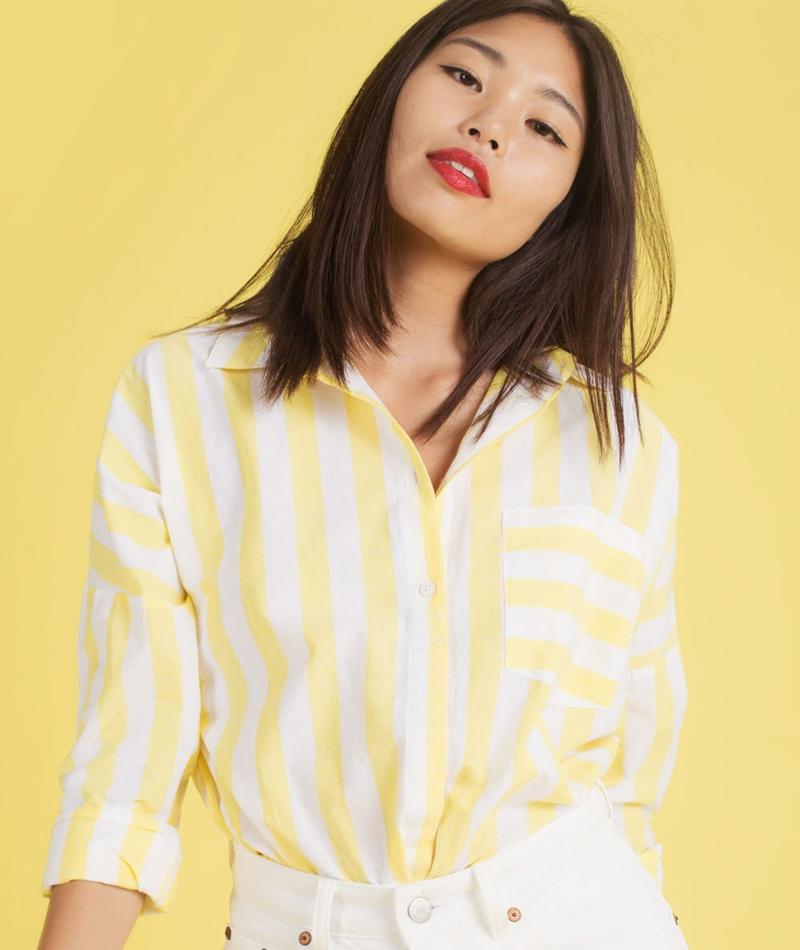 M BY M Terence Bluse lemon sugar stripe