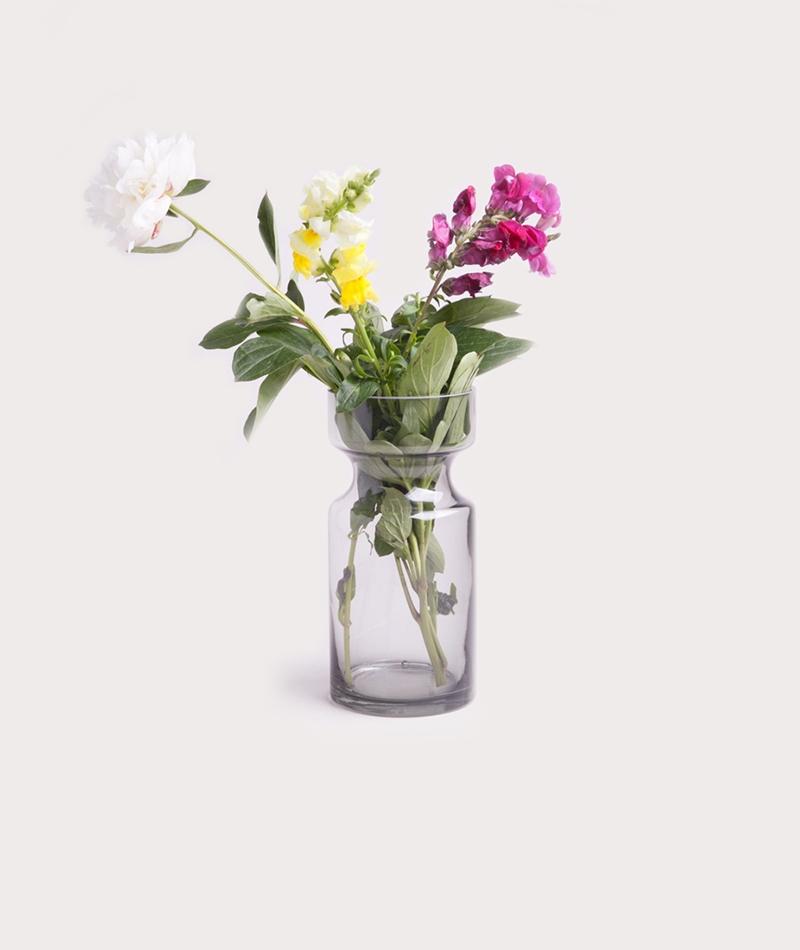 MADAM STOLTZ Glass Vase grey