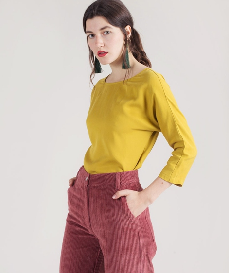ANOTHER LABEL Luptons S/S Bluse mustard