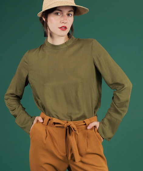 ANOTHER LABEL Lower L/S Bluse olive