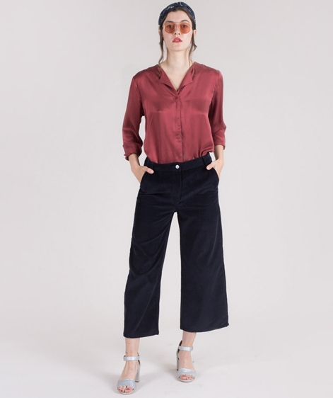 POP COPENHAGEN Sand-washed Bluse burgundy