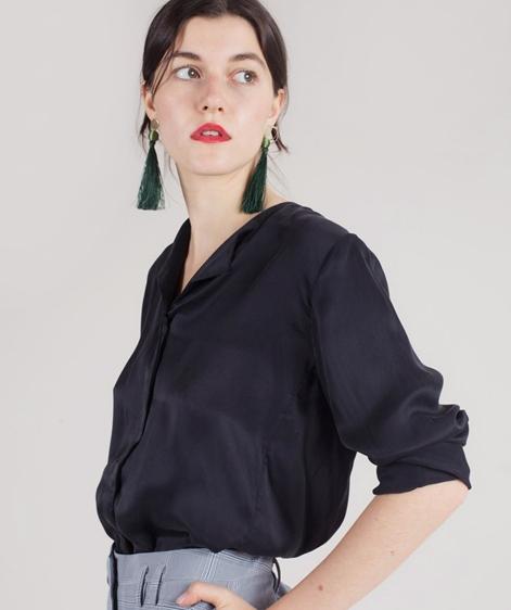 POP COPENHAGEN Sand-washed Bluse black