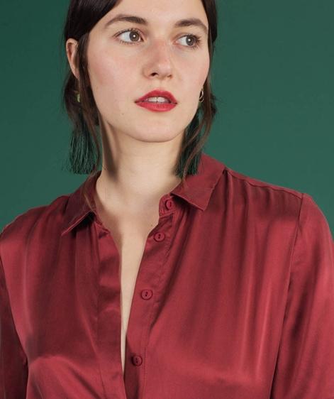 POP COPENHAGEN Sand-washed Silk Bluse short burgundy