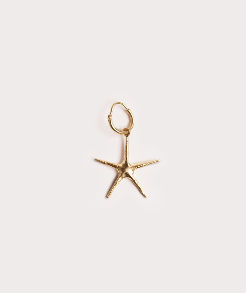 ANNA + NINA Single Starfish Ohrring gold