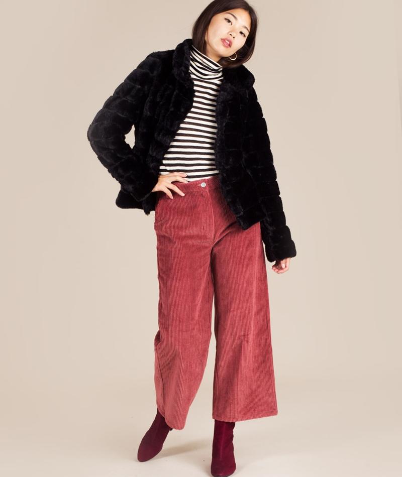 VILA Vifarry Faux Fur Jacket black