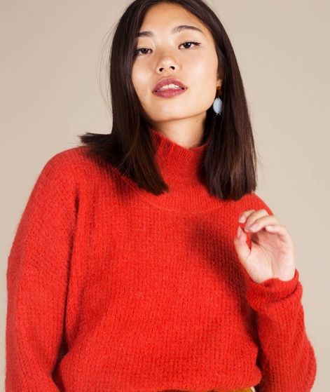 MOSS CPH Rose Waffle Mohair Pullover red