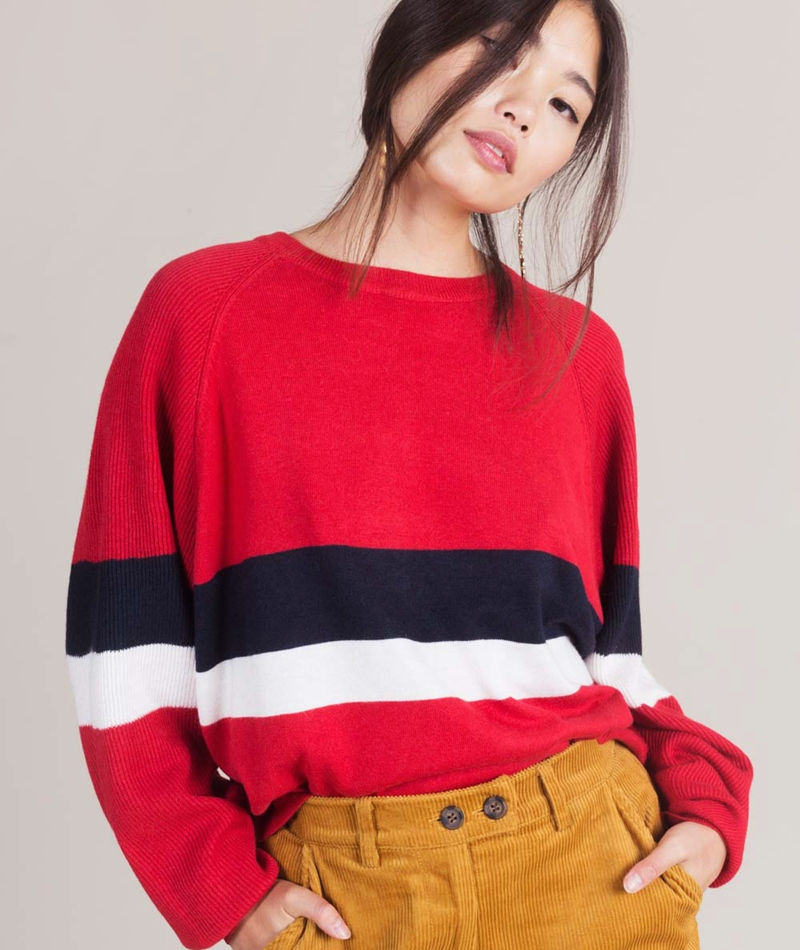 JUST FEMALE Anna Knit Pullover scarlet s