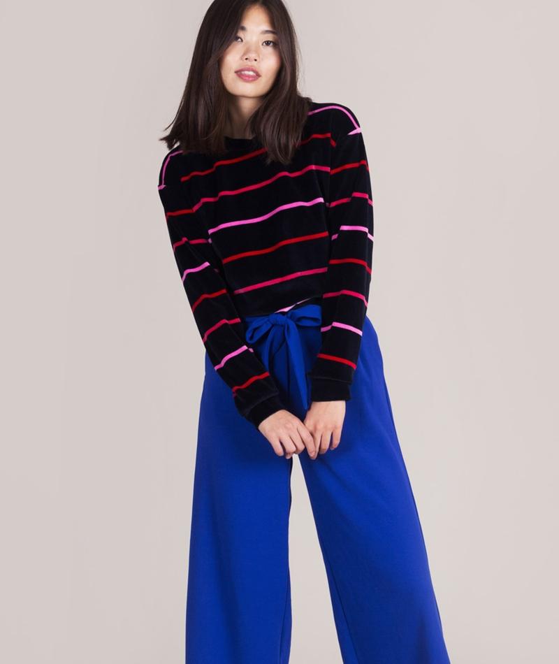 KAUF DICH GLUCKLICH Fronie Samt Sweater striped