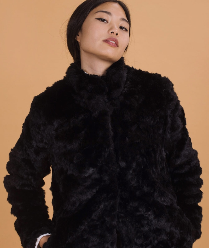 M BY M Nita Fake Fur Jacke black