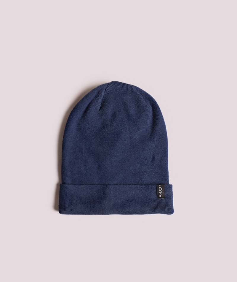 SELECTED HOMME Leth Cotton Beanie estate blue melange