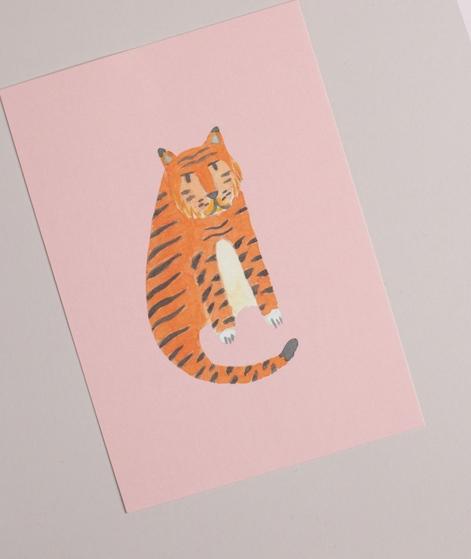 KAUF DICH GLÜCKLICH Postkarte Tiger rosa