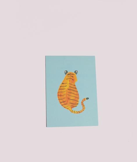 KAUF DICH GLÜCKLICH Postkarte Tiger blau
