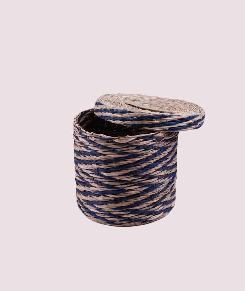 BLOOMINGVILLE Basket Seagrass blue 20x18