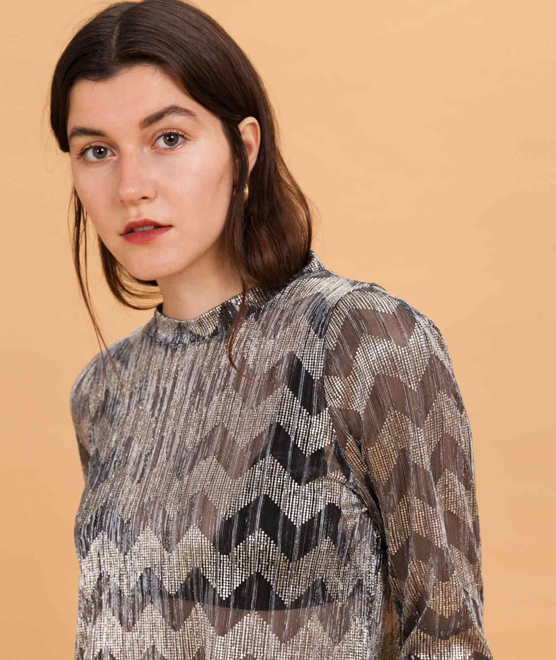 MADS NORGAARD Zigzag Crepe Bluse silver/