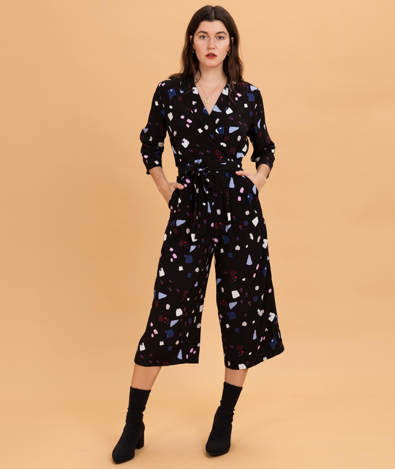 SELECTED FEMME Niani 3/4 Jumpsuit black aop