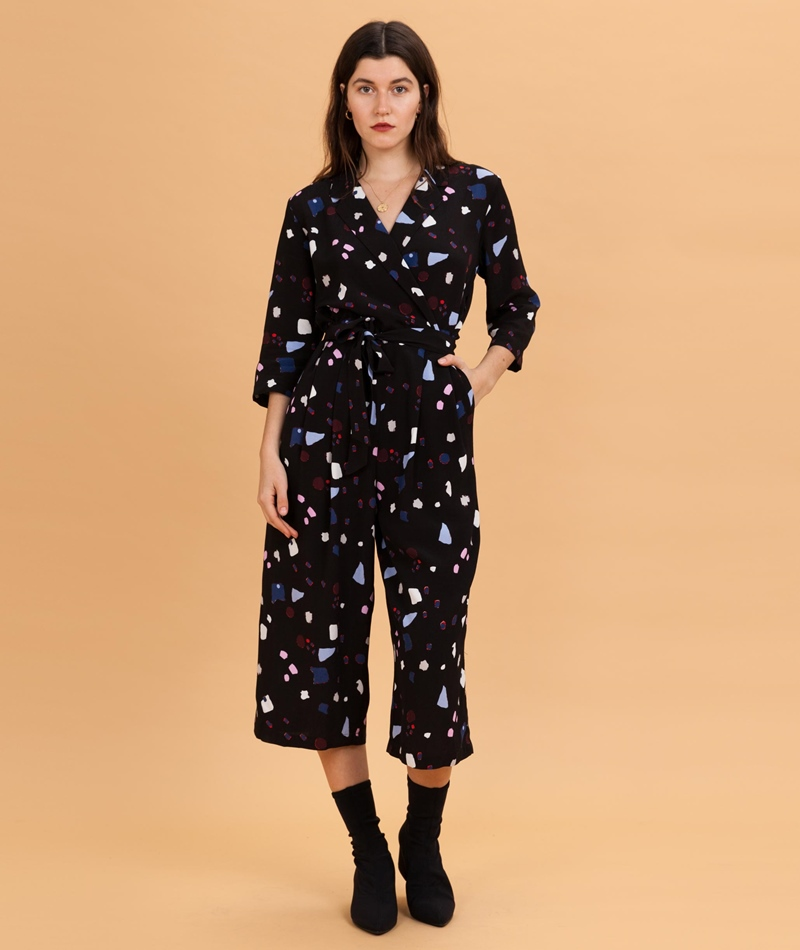9500504712e SELECTED FEMME Niani 3 4 Jumpsuit black aop
