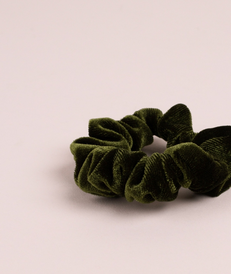 EBBA Small Velour Scrunchie green
