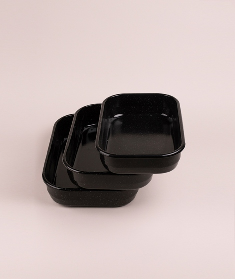 MADAM STOLTZ Enamel Baking Pan s black/w
