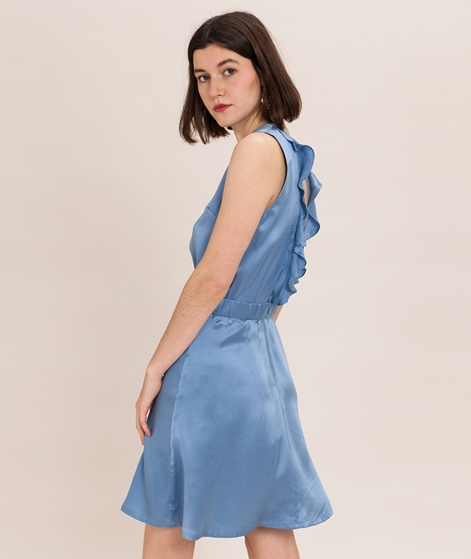 POP COPENHAGEN Ruffled Silk Kleid blue s