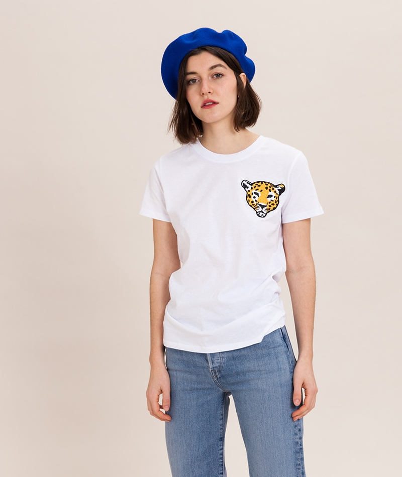POP COPENHAGEN Leopard Embro T-Shirt whi