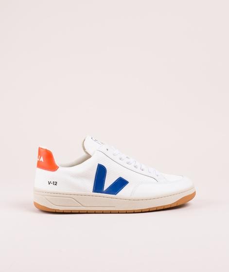 VEJA V-12 Sneaker white/indigo orange-fluo
