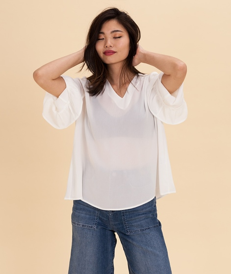 POP COPENHAGEN Ruffled Cuff Bluse white