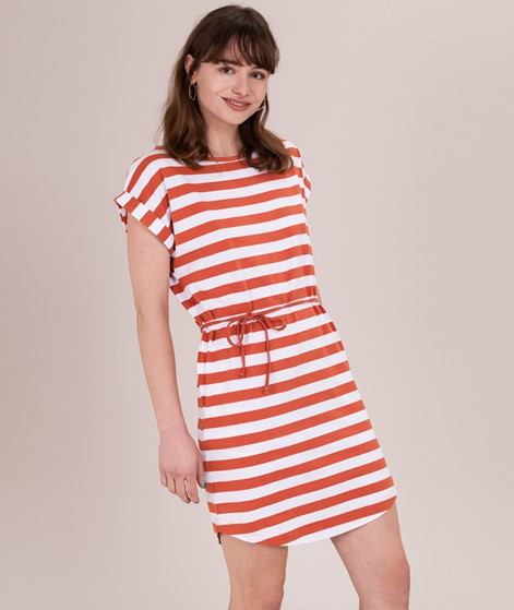 WEMOTO Kano Striped Kleid emberglow/whit