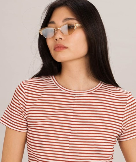 MINKPINK Striped Knit Twist T-Shirt rust