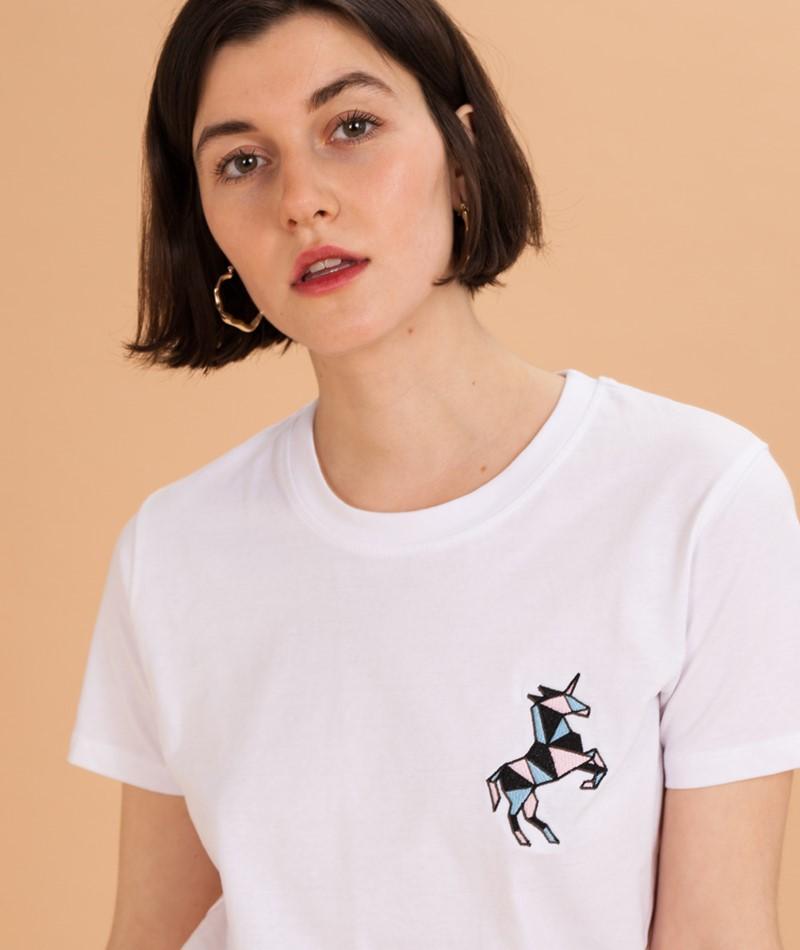 POP COPENHAGEN Unicorn Embro T-Shirt whi