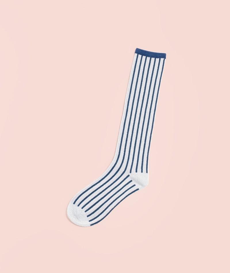 UNMADE CPH Solid Stripe Long Socken blue