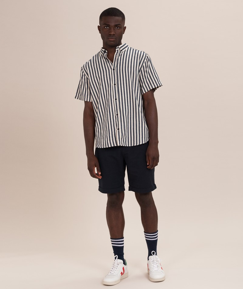 NOWADAYS Linen Turn-Up Shorts blue black