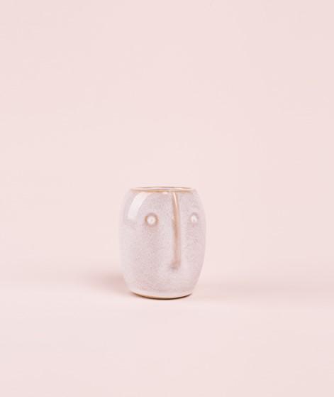 MADAM STOLTZ Flower pot w/face off white