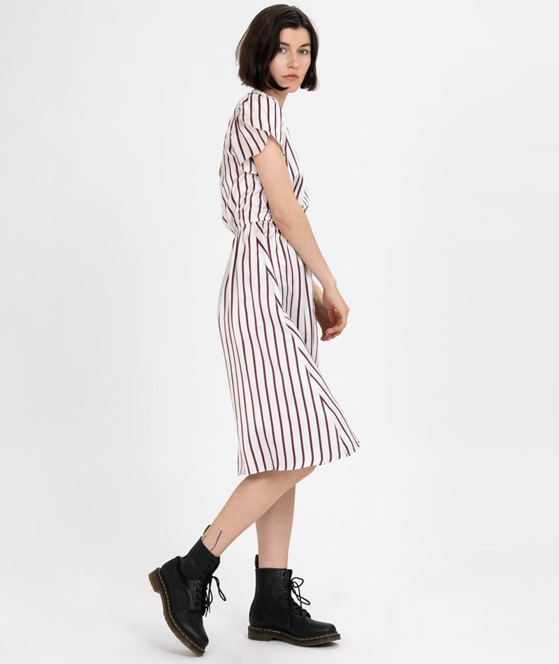 POP COPENHAGEN Striped Kleid cream