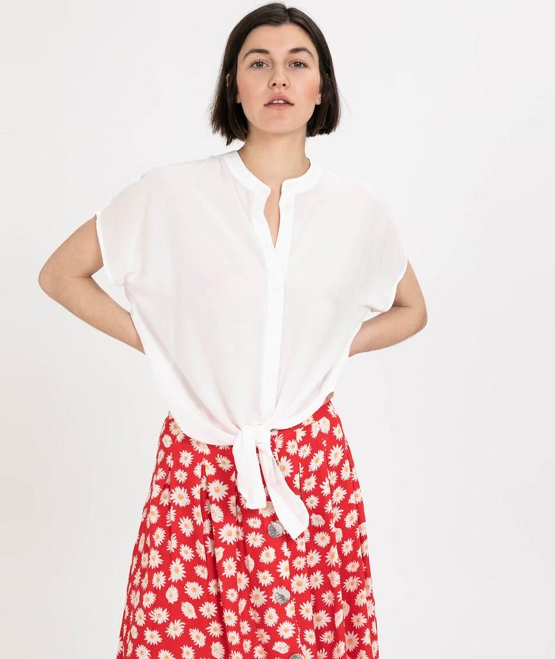VILA Vithoma Tie Bluse snow white