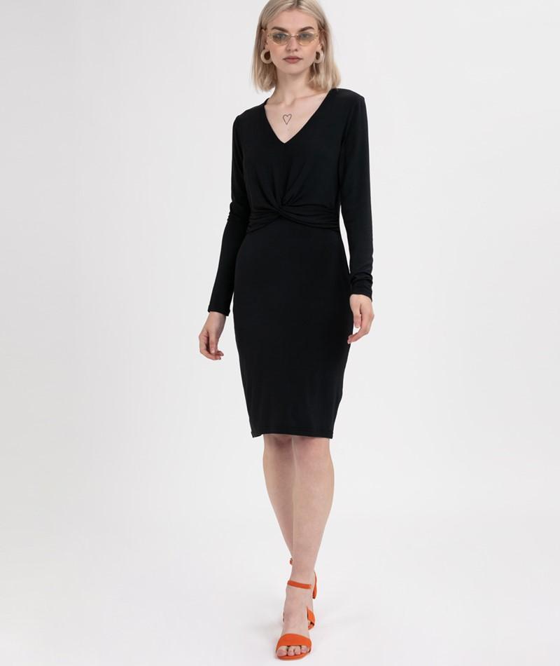 POP COPENHAGEN Wrap Jersey Kleid black