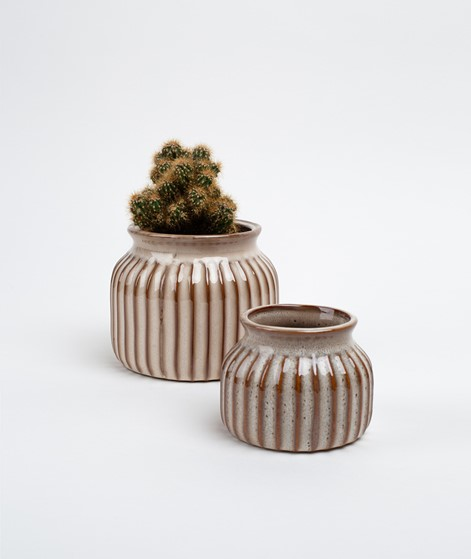 MADAM STOLTZ Striped Vase beige